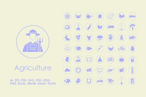 49 Agriculture simple icons
