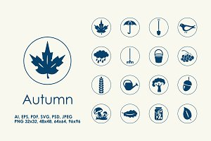16 Autumn simple icons