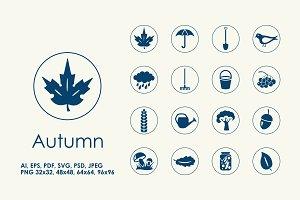 16 Autumn simple icons