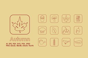 12 Autumn simple icons