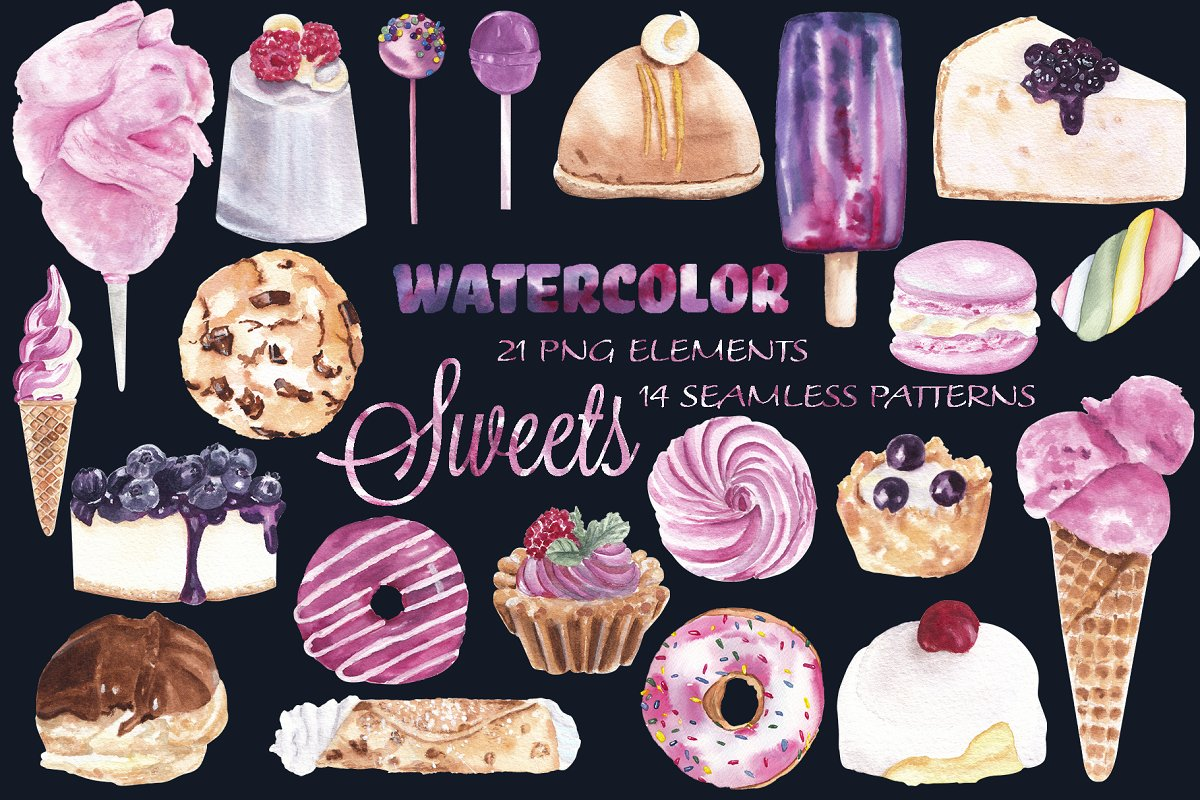 Sweets & desserts clipart & patterns