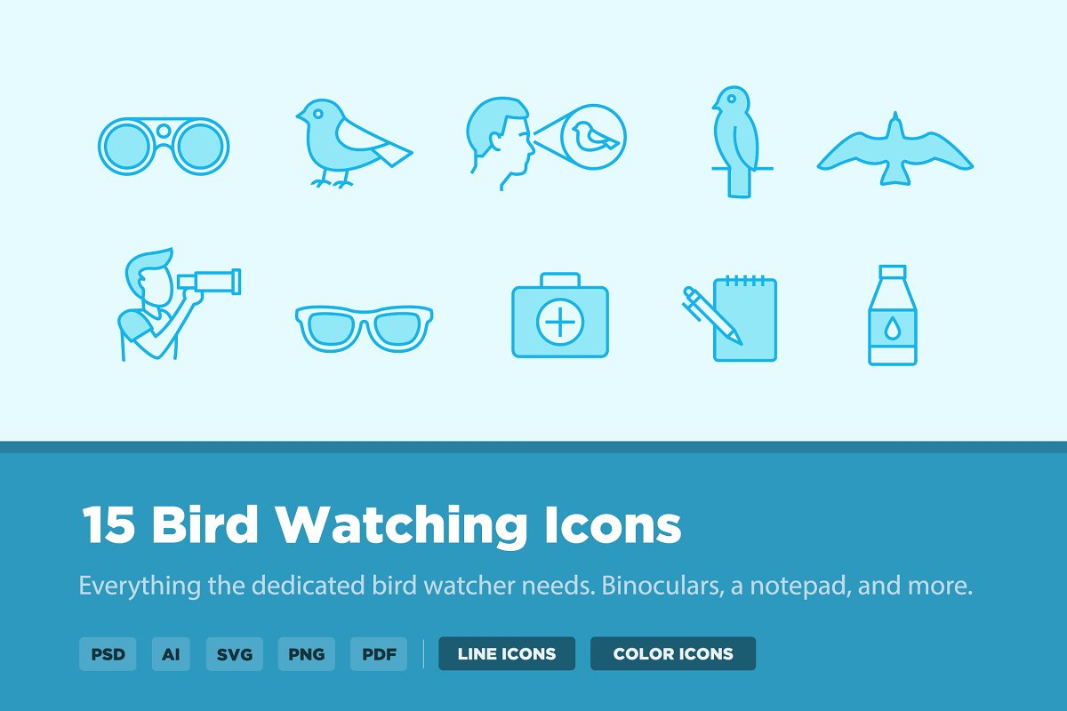 15 Bird Watching Icons