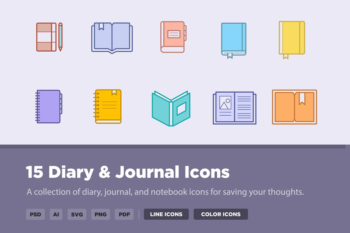 15 Diary & Journal Icons
