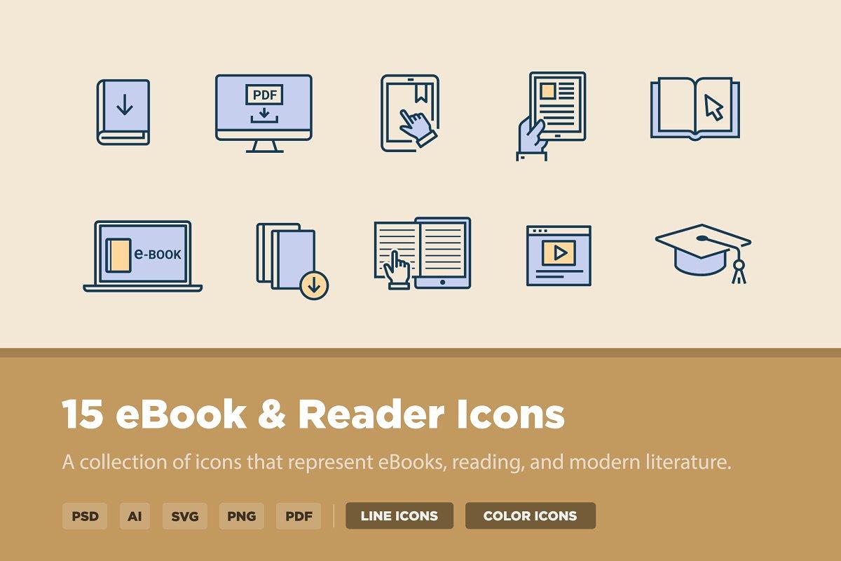 15 eBook Reader Icons