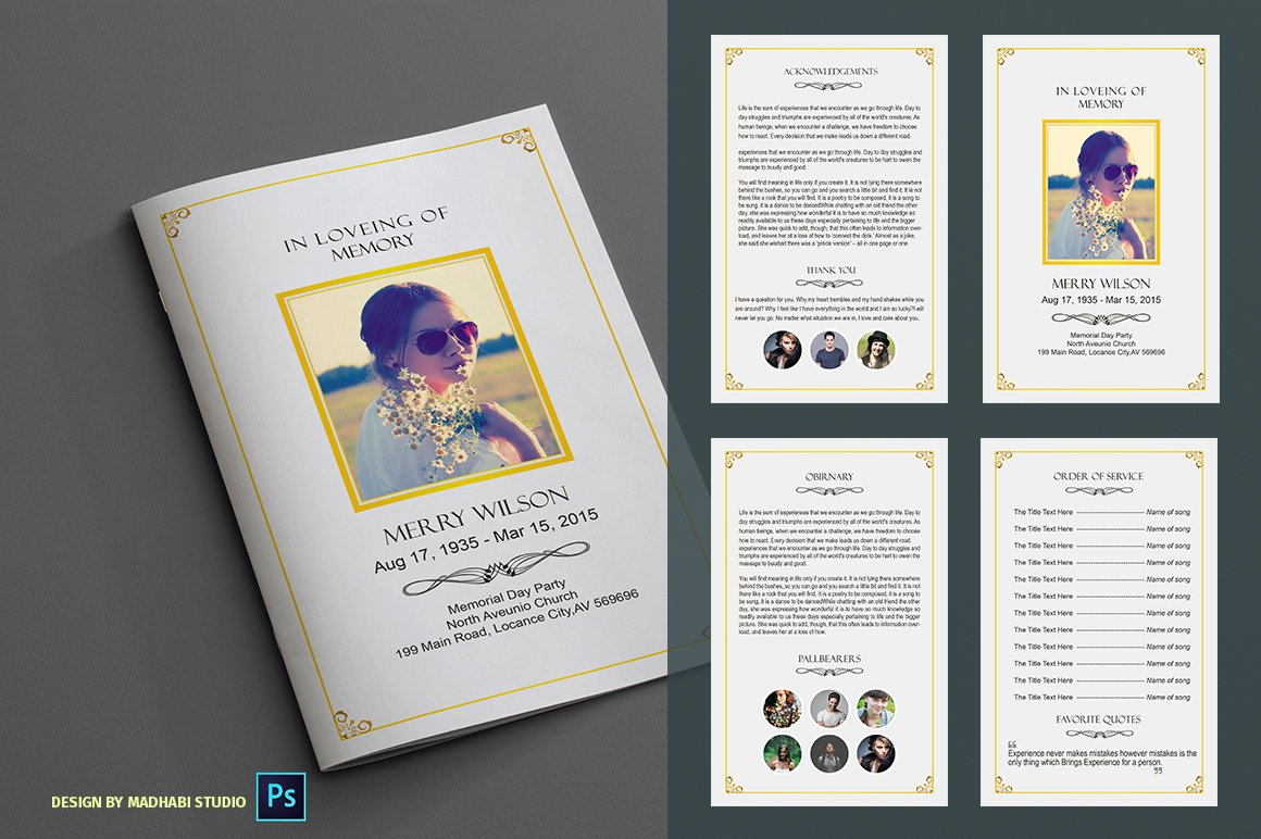 In loveing of memory funeral program brochure templates for Program brochure templates