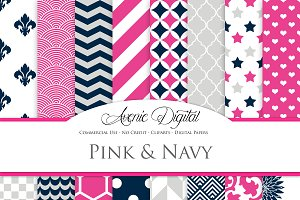 Pink and Navy Digital Papers
