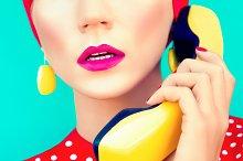 retro girl with telephone