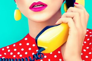 retro girl with telephone
