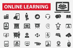 49 online learning icons