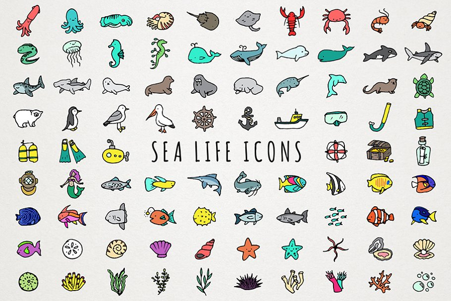 Sea Life & Oceans Icons