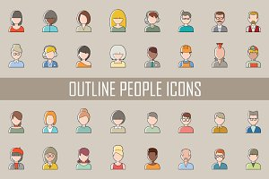 Set of outline people icons