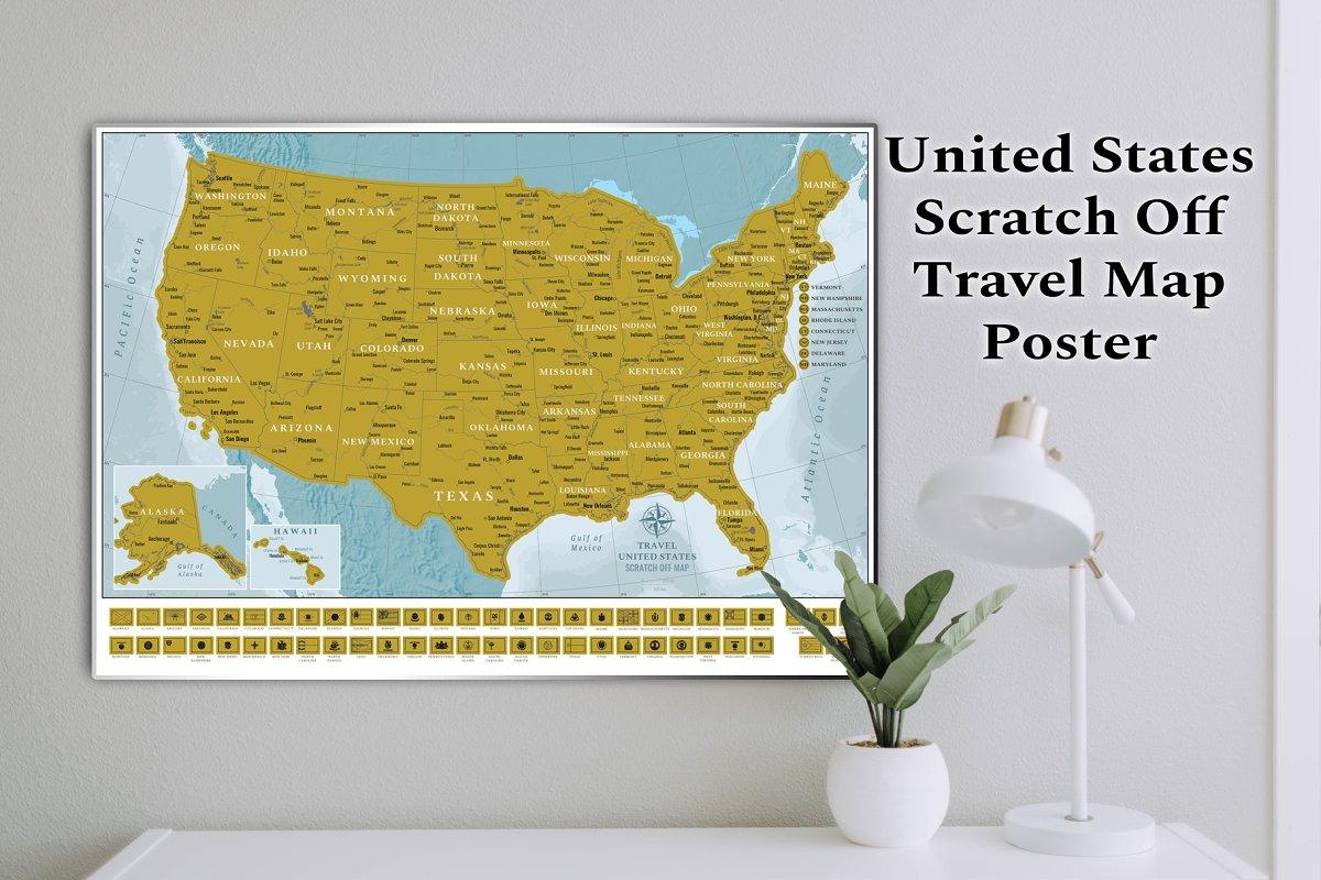Scratch Off USA Map ~ Illustrations ~ Creative Market on signature usa map, white usa map, black usa map, folding usa map, gold usa map, red usa map,