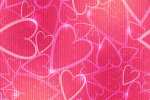 Pink romantic seamless pattern with
