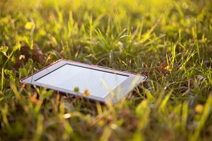 Ebook reader on grass