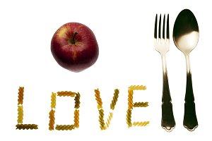 Apple, fork and spoon and love