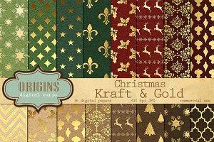 Christmas Kraft & Gold Digital Paper