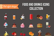 Set of colorful food and drinks icon