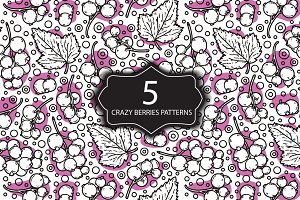 5 Crazy berries seamless patterns