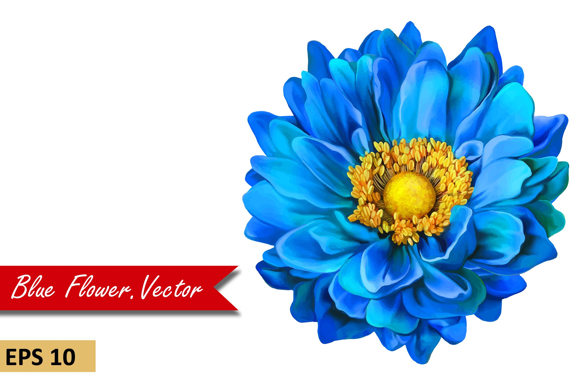 Blue Dahlia Flower Vector Graphic Objects Creative Market