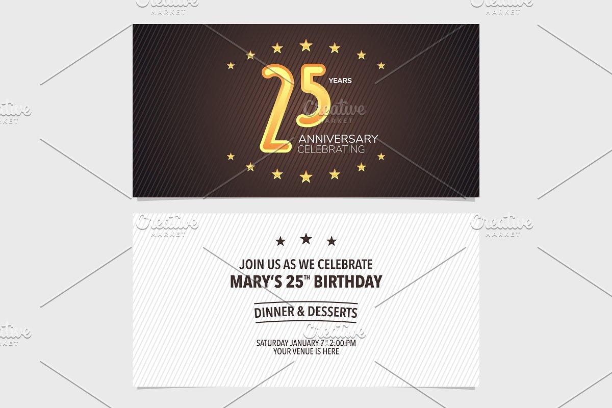 25th anniversary invitation vector