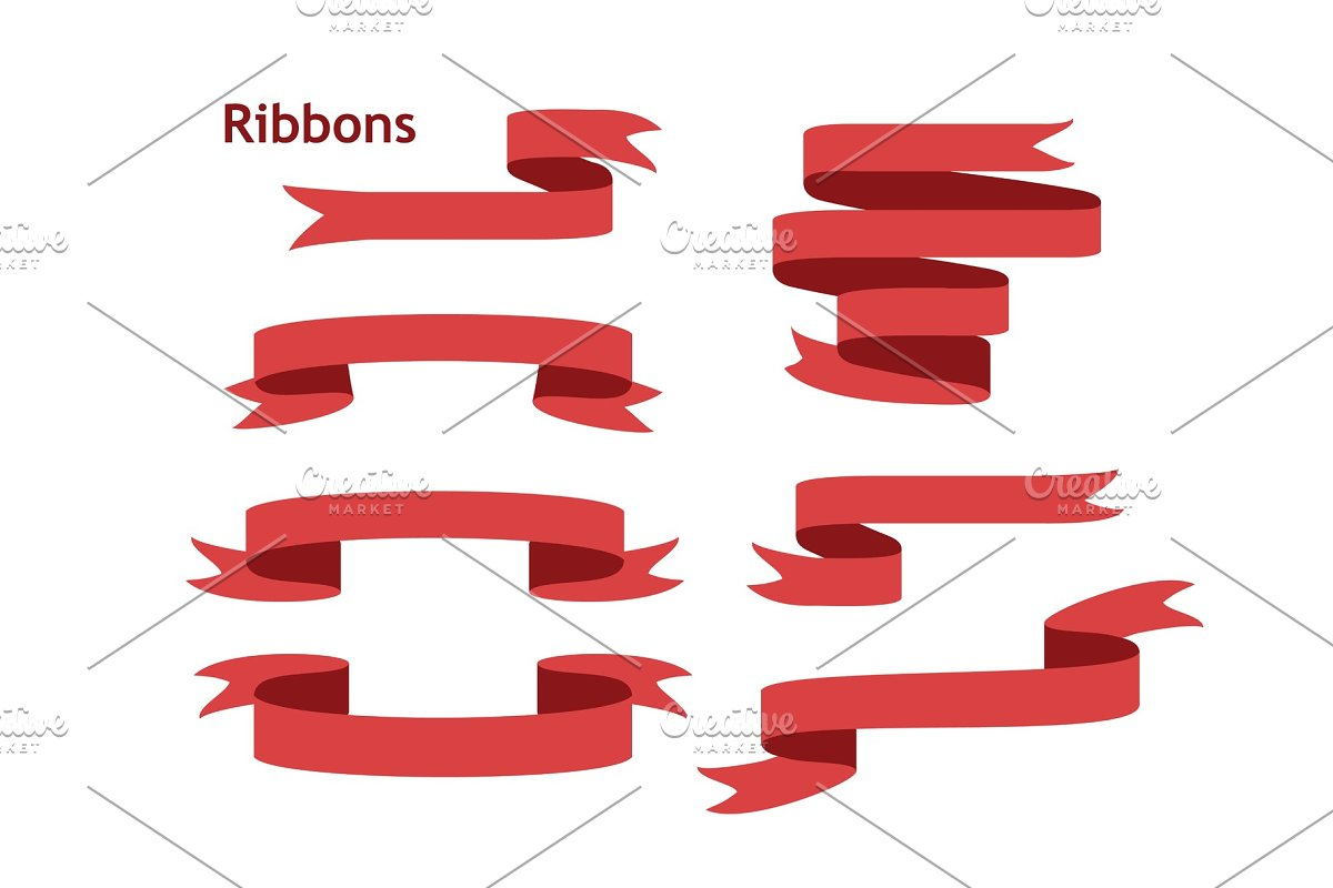 Blue ribbon banners set. Isolated on