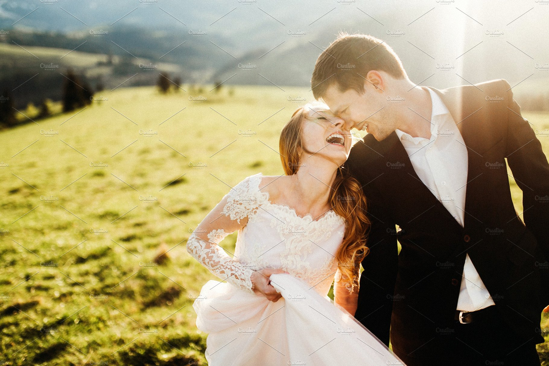 Happy wedding couple smiling   High-Quality People Images ~ Creative Market