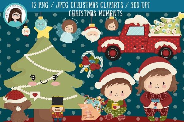 Christmas Decorations Kawaii Clipart Custom Designed Illustrations Creative Market