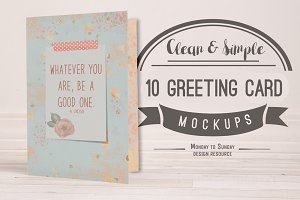 10 A7 (5x7) Greeting Card Mockups