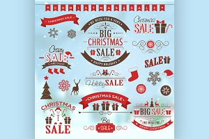 Christmas sale design set - labels