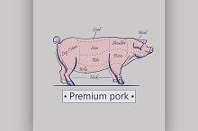 Vector cuts of pork