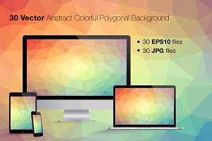 30 Abstract Colorful Poly Background