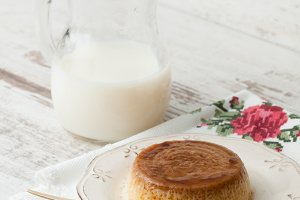 Caramel custard in a studio shot.