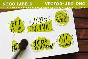 Eco labels with hand lettering