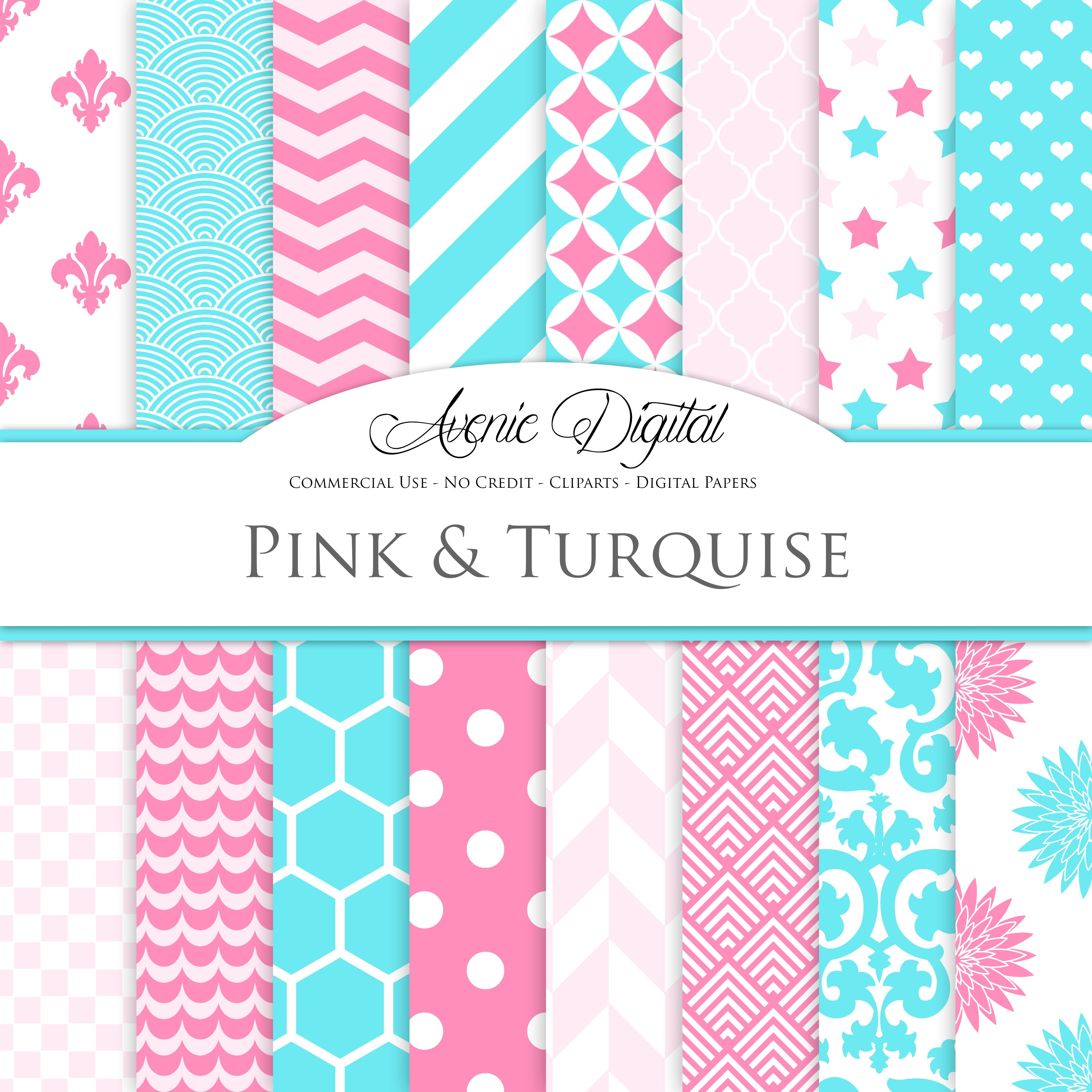 Turquoise And Pink Digital Paper Custom Designed Graphic Patterns Creative Market