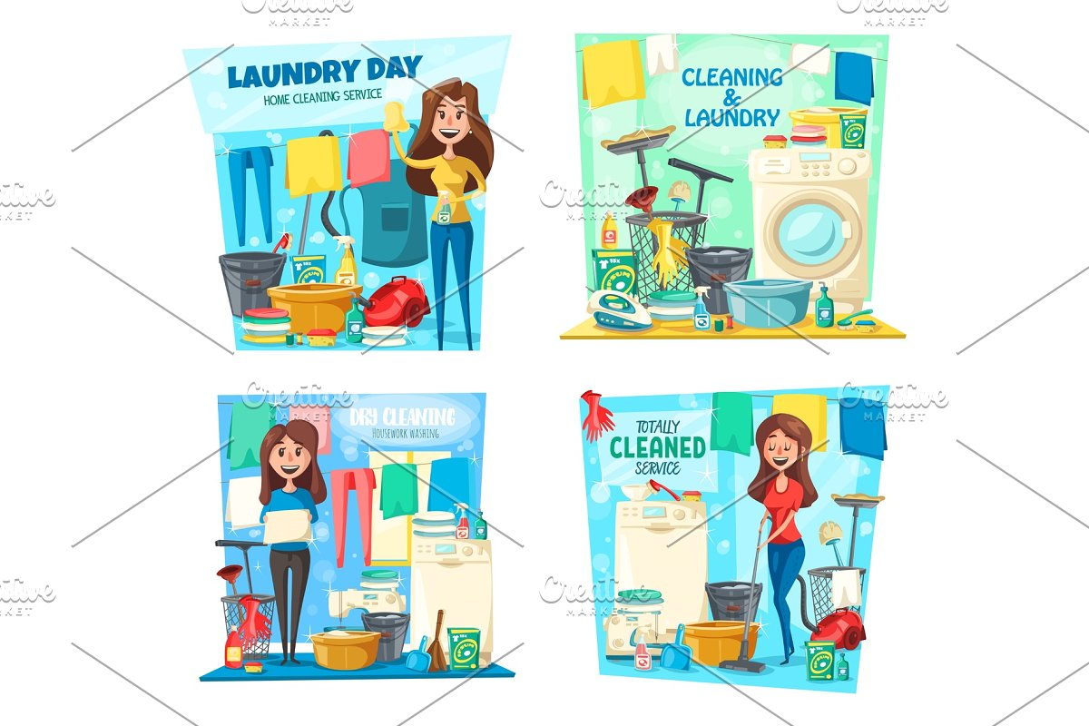Laundry, house cleaning. in Illustrations - product preview 8