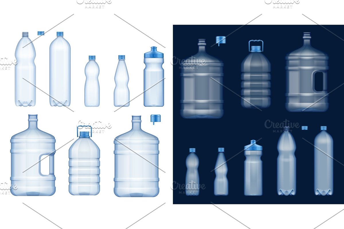 Water bottles. Plastic containers