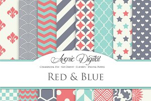 Red, teal and blue Digital Paper