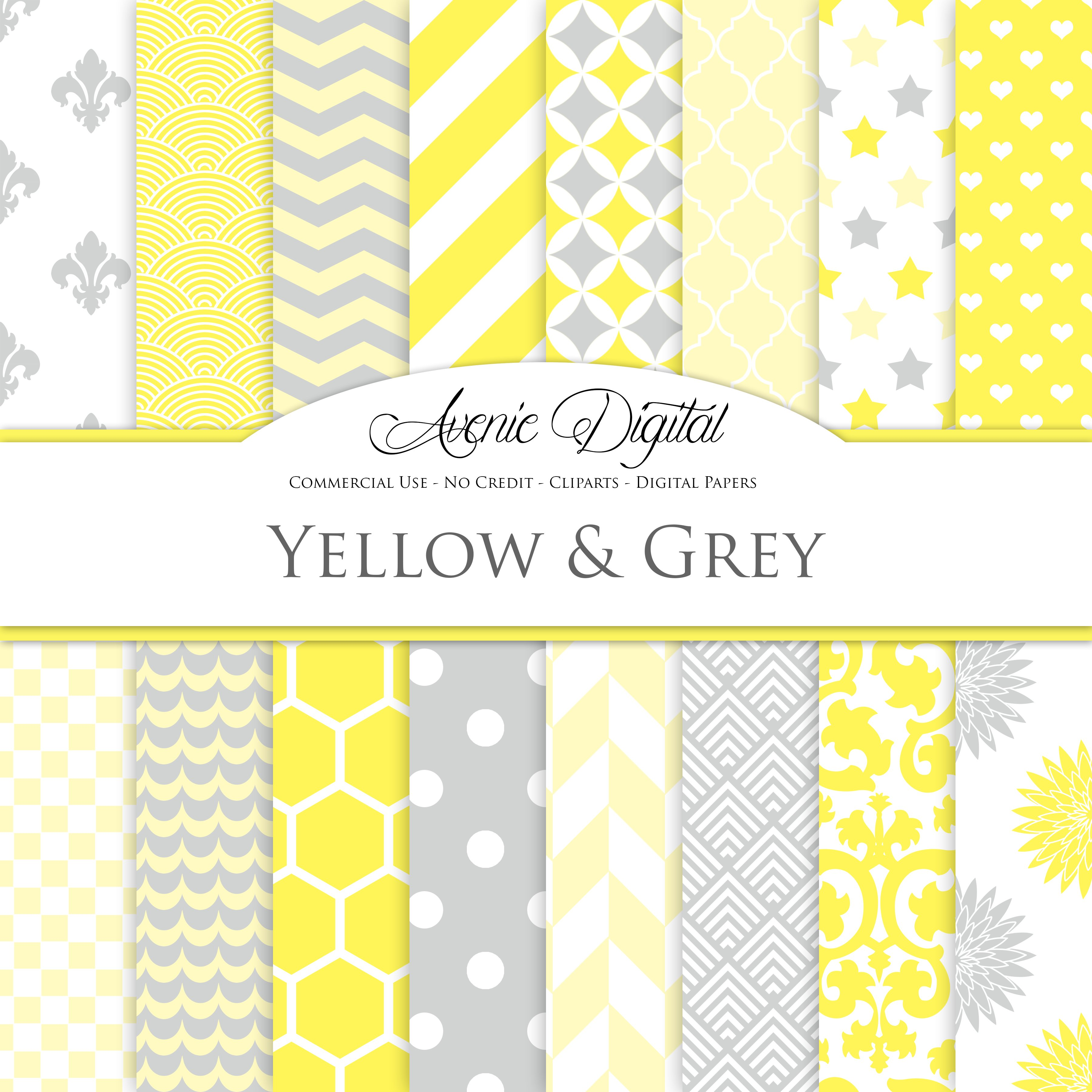 Yellow And Gray Digital Paper Graphic Patterns Creative Market