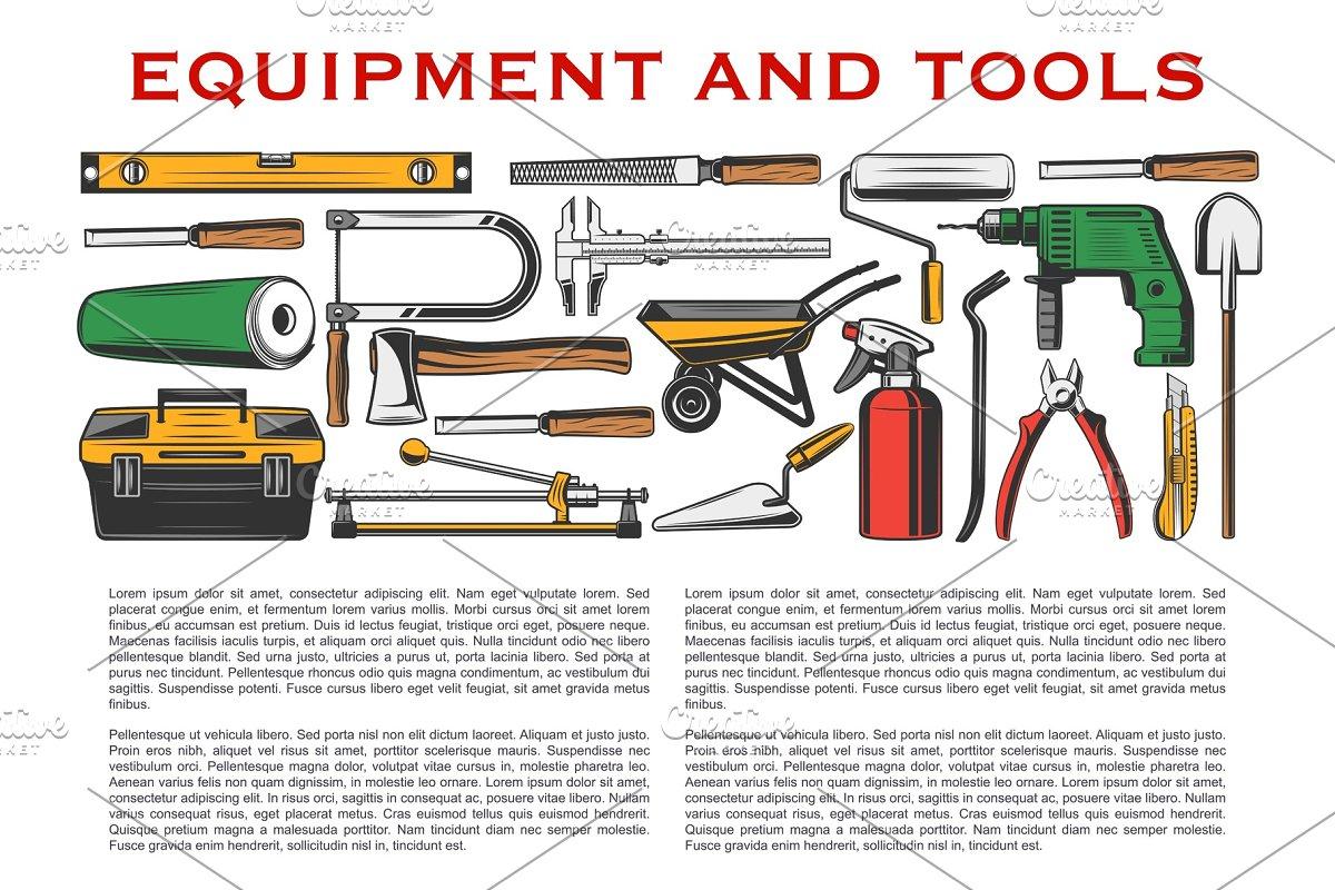 Tools, hammer, drill, shovel