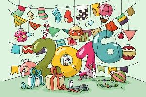 Cartoon 2016 Happy New Year Eve card