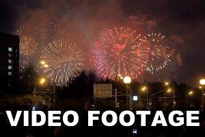 People enjoying fireworks the city
