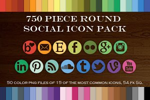750 Piece Round Mask Social Icon Set