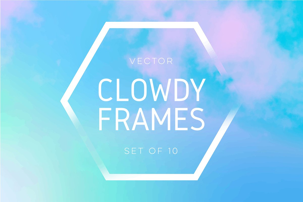 Vector Cloudy Frames Set