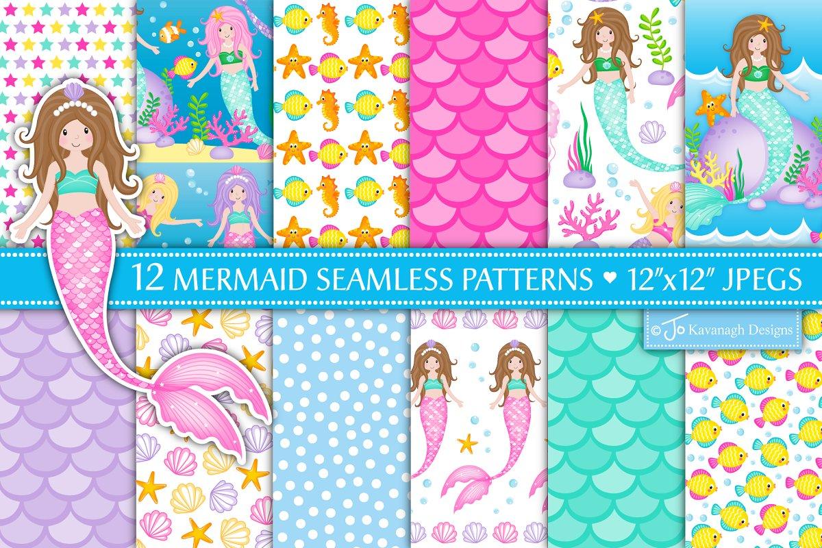 Mermaid Digital Paper, Mermaids -P17 in Patterns