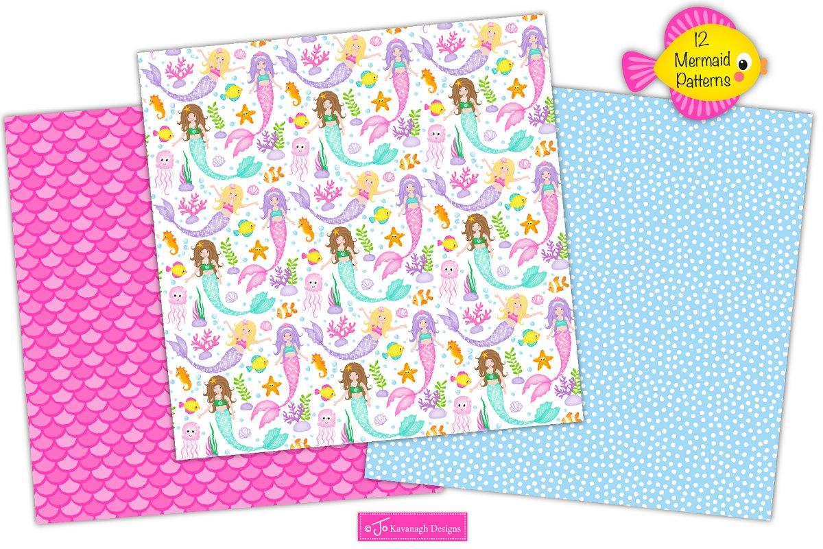 Mermaid Digital Paper, Mermaids -P17 in Patterns - product preview 1