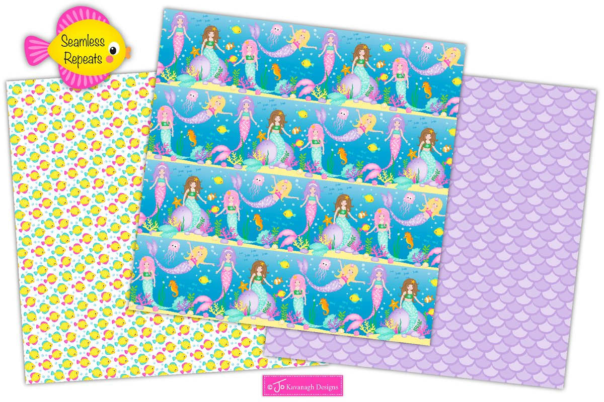 Mermaid Digital Paper, Mermaids -P17 in Patterns - product preview 2