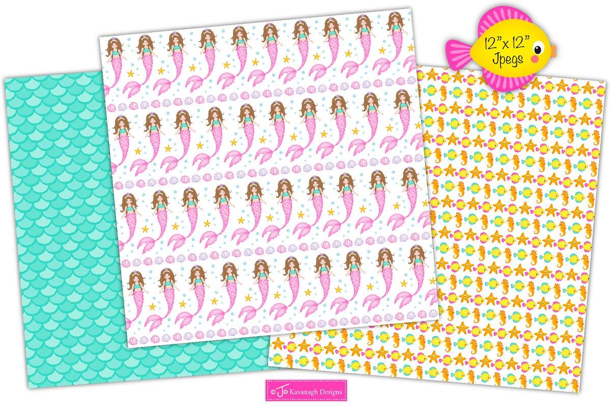 Mermaid Digital Paper, Mermaids -P17 in Patterns - product preview 3