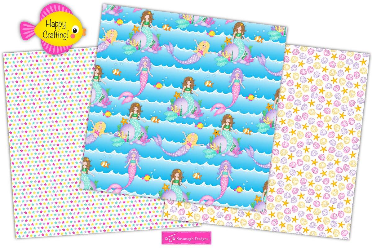 Mermaid Digital Paper, Mermaids -P17 in Patterns - product preview 4