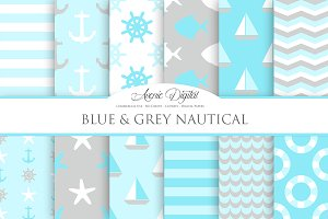 Blue and gray Nautical Digital Paper