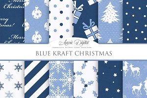 Navy Blue Christmas Digital Paper